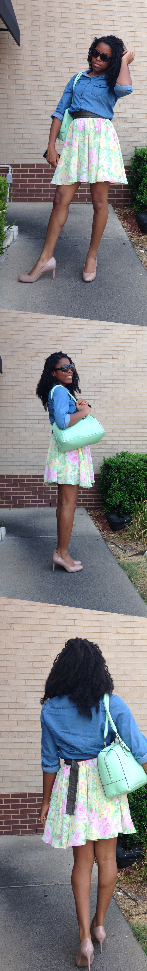 Elle is wearing a floral skirt that she refashioned form an old dress along with a thrifted Old Navy denim top, leather belt and a mint green purse from Charming Charlie.