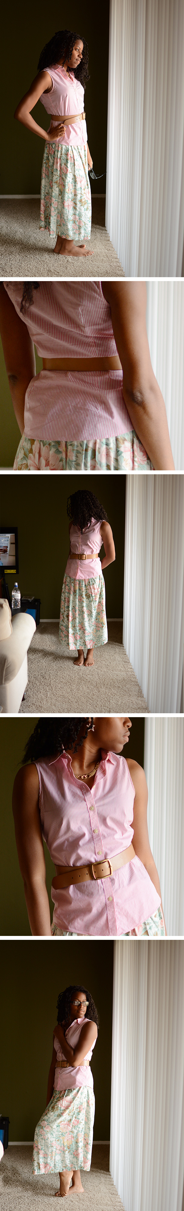My Friend Elle's pink stripes and floral skirt OOTD