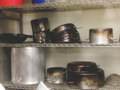 Elleword - Well used pots and pans at the Cordon Bleu