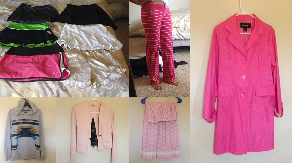 Elleword - I found lots of cute pink items at the thrift store this week, most of it was fitness and lounge wear.