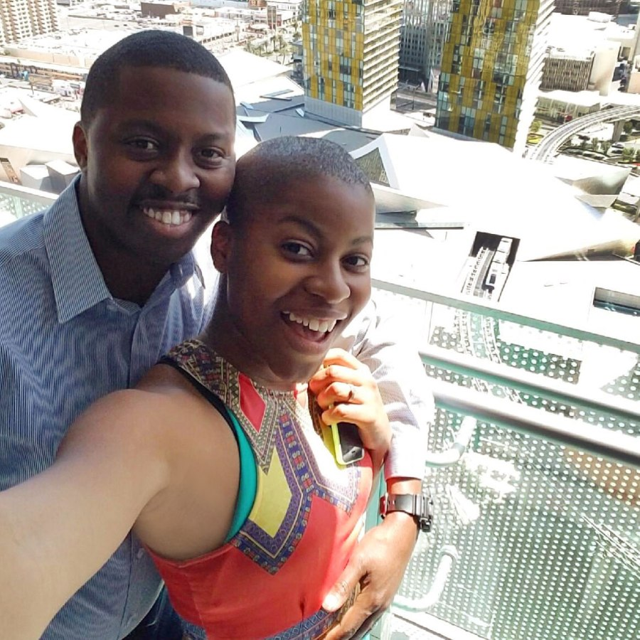 Elleword - Brandon and I enjoying the view at the Cosmopolitan Hotel in Vegas