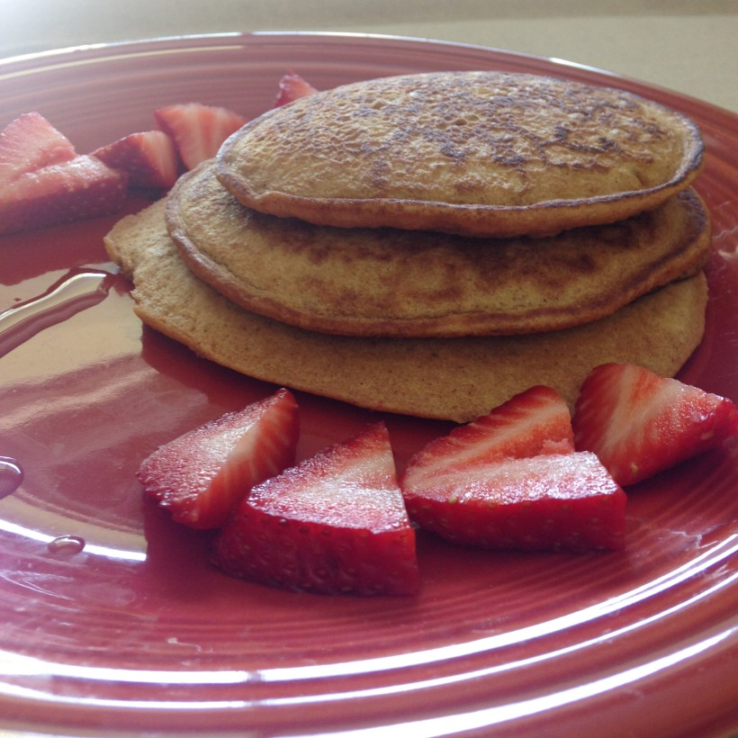 Elleword - I made these yummy wheat pancakes myself :) Love the heart shaped strawberries!
