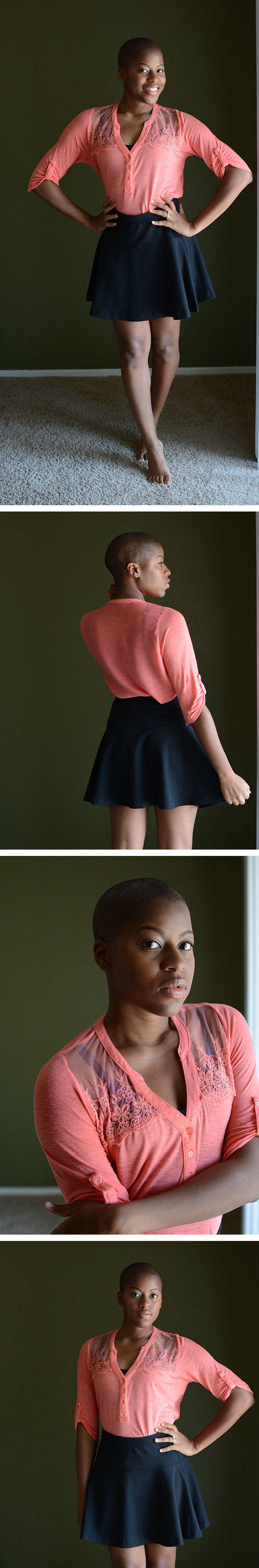 Elleword - my thrifted peach shirt looked great with this skater skirt. You don't have to spend lots of money to look good.