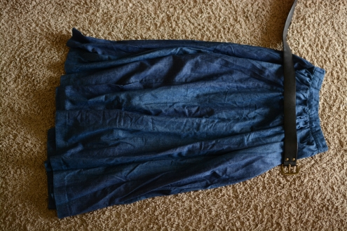 Elleword - denim can take a lot of wear so I'm wearing this high waisted skirt on the camping trip
