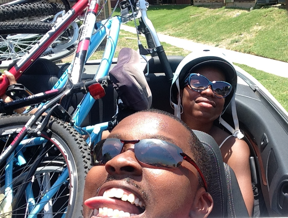 We jammed ourselves into Mom's car with our bikes