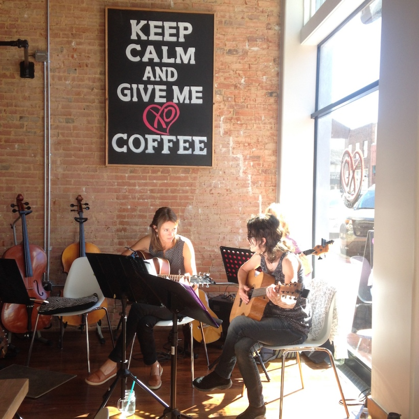 I went to XO Coffee in Downtown Plano, TX. There was a live band there :D
