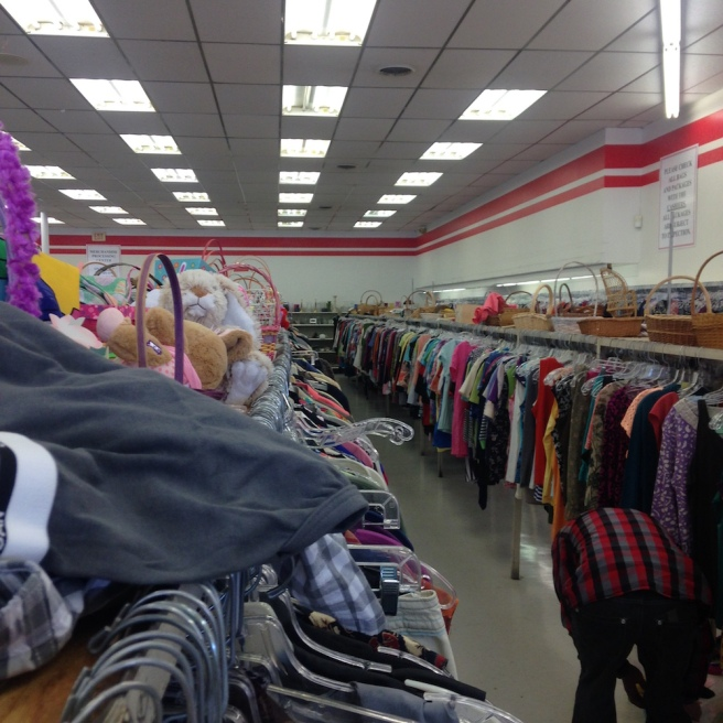 Elleword - this thrift store was huge but they had no dressing room! What the heck?
