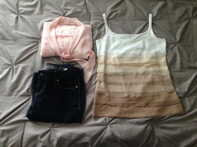 Elleword - my thrift store finds for the day. Express brand jeans and a New York & Company tank.