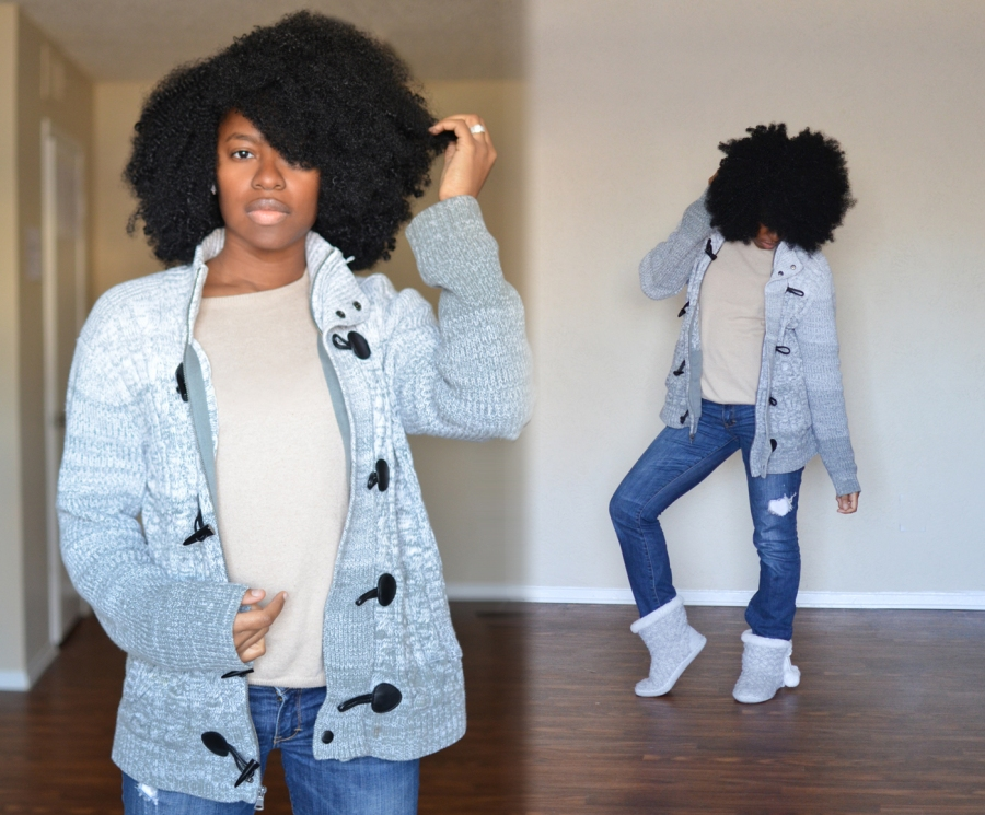 Elleword - just lounging around the house in gifted jeans, thrifted top and my husband's sweater. Like the afro?